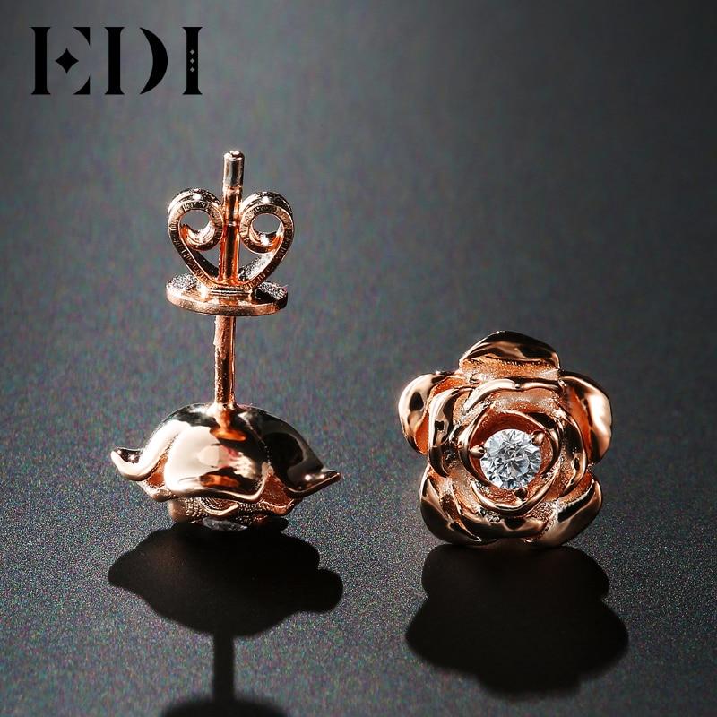 EDI Genuine Moissanites Diamond 14k 585 Rose Gold Stud Earrings Rose Floral Female Wedding Fine Jewelry цена 2017