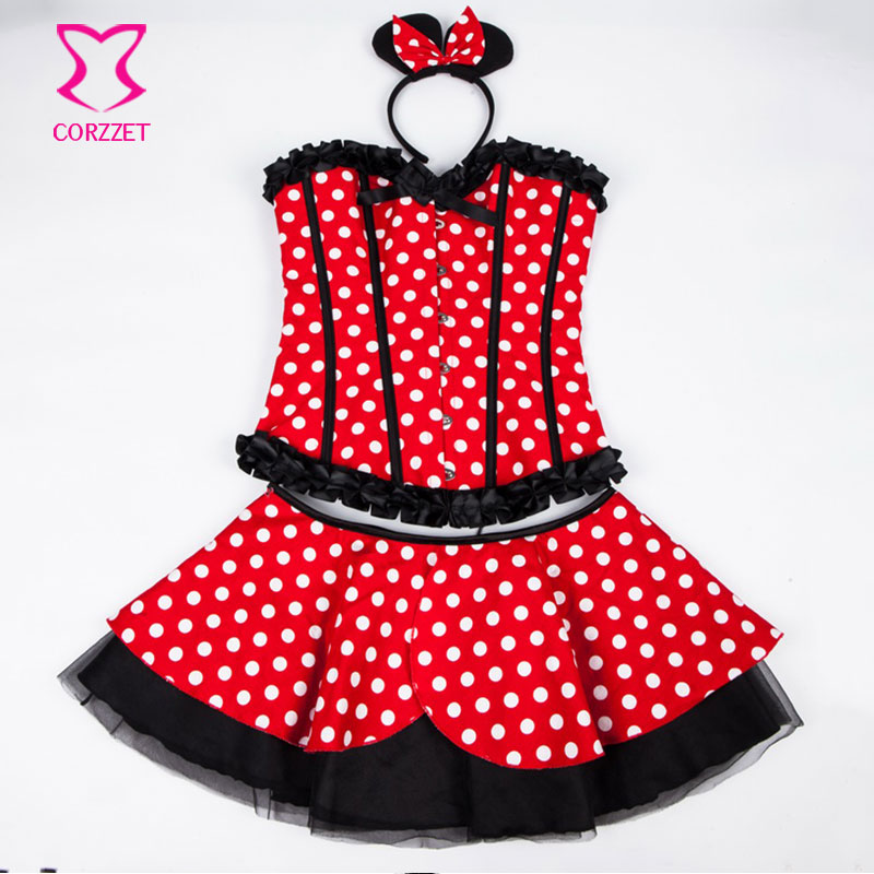 Lolita Rojo / Blanco Polka Dot Fancy Corset Dress Mouse Mascota Anime - Disfraces - foto 6