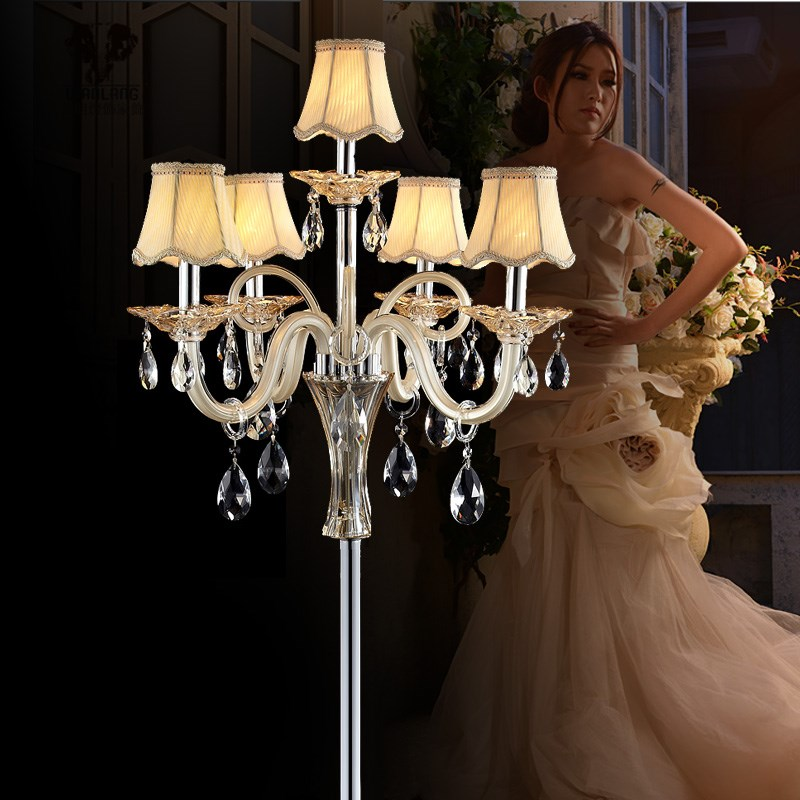 5-arm large champagne gold glass floor lamp with fabric lamp shade tall wedding crystal floor lights led candlestick table lamp modern crystal floor lamp with fabric shade contemporary crystal floor lighting crystal floor lamps living room floor lights