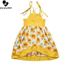 Chivry Summer 2019 Little Girls Sleeveless Sun Flower Print Strap Princess Dress Baby Toddler Casual Dresses Vestidos