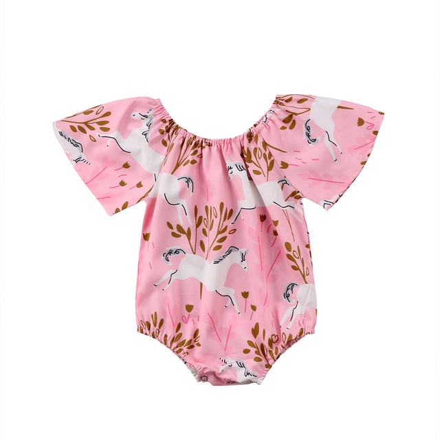 16b665339ee7 Emmababy New Cute Newborn Baby Girls Unicorn Bodysuit Jumpsuit Outfits  Playsuit Clothes Set