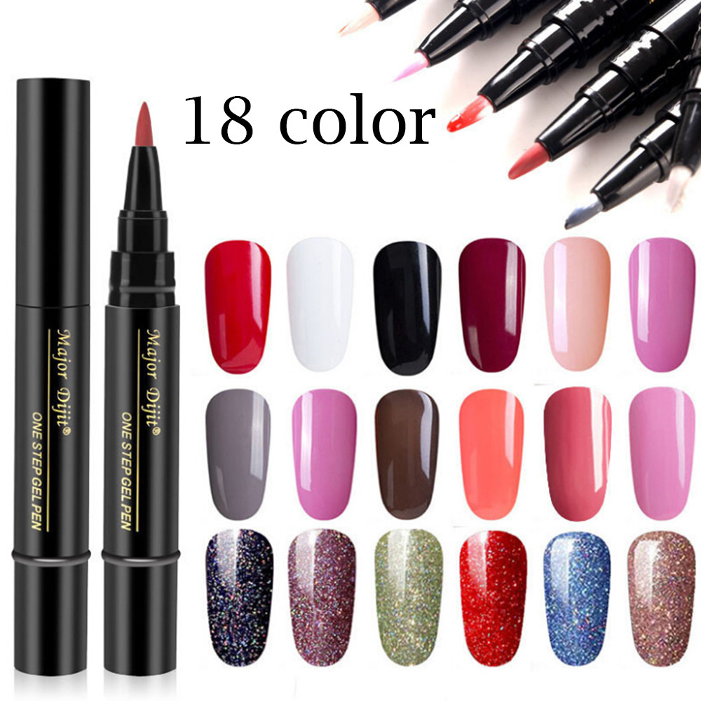 One Step Gel Lacquer Nail Painting Varnish Pen 3 In 1 Colors Nail Gel Polish Easy To Use Not Need Base Top Coat Primer #PL221