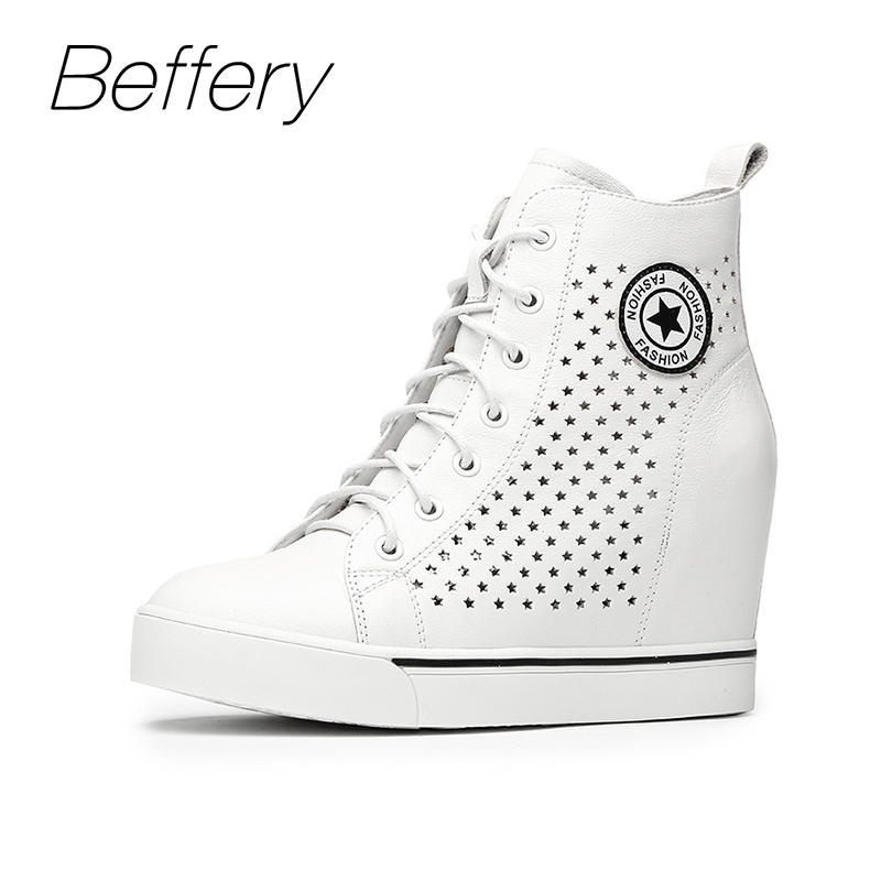 Beffery Autumn Winter Genuine Leather Womens Shoes Fashion casual Wedges Sneakers High-top lace-up Shoes Woman Platform Shoes
