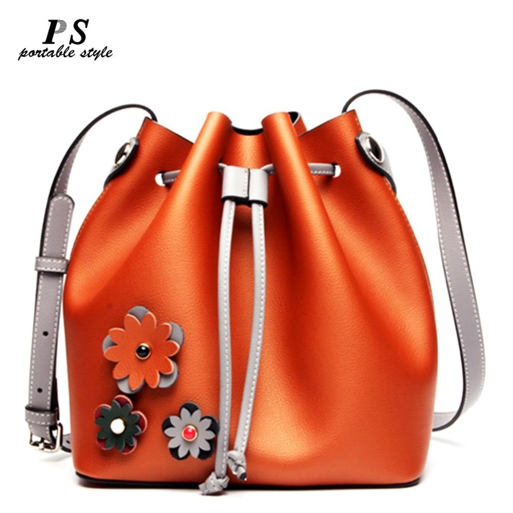 2019 Bucket bags famous brand designer drawstring tote women bag 100 genuine leather handbags high quality