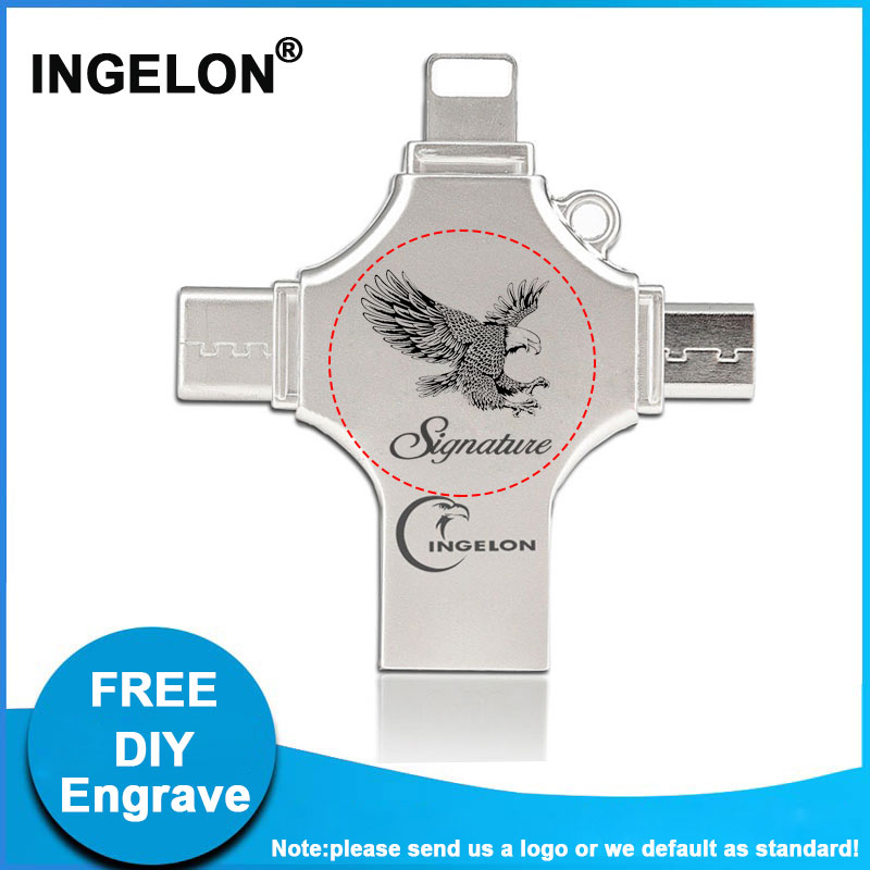 Ingelon 4in1 128GB USB Stick Free DIY Pendrive флэш-память USB OTG Type-C Micro USB для IPad Iphone Все телефоны Thumb Drive 128G