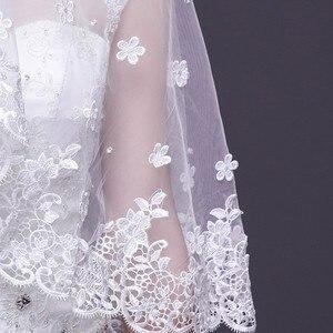 Image 5 - 2019 אופנה חתונה צעיף תחרה 3 M לבן/שנהב 1 שכבה טול צעיפי כלה לחתונה מסיבת חתונה אישה אבזרים