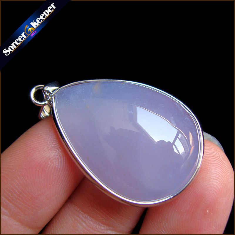 A + gema Natural Real piedra azul Calcedonia Agata cabujón cuentas collar de cristal y colgante accesorios de mujer joyería bijou HS106
