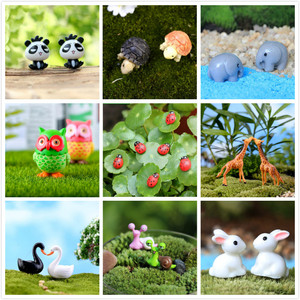 Resin Animals Rabbit Duck Miniatures Figurines Mini Craft Figurine Plant Pot Garden Ornament Miniature Fairy Garden Decor DIY