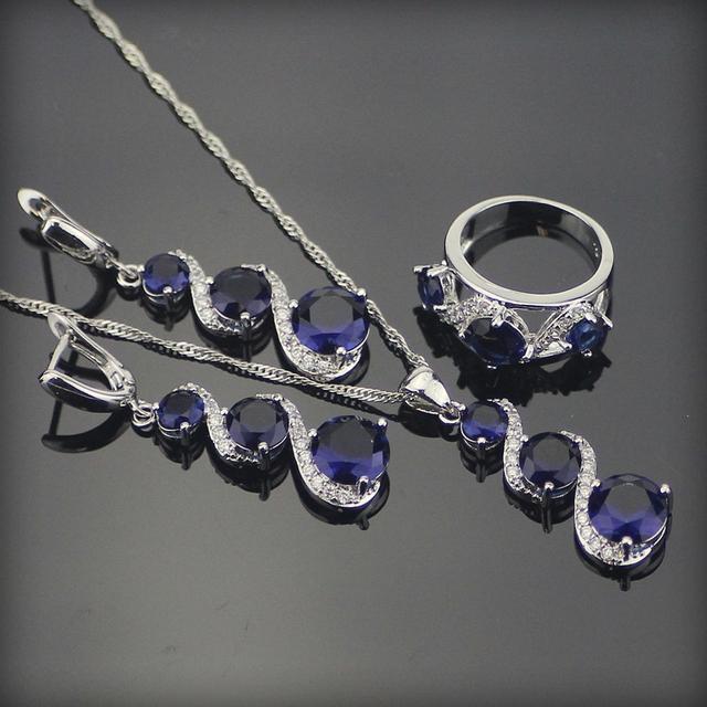 Clássico Azul Criado Sapphire 925 Sterling Silver Brincos de Pingente de Colar de Casamento Conjuntos de Jóias Para As Mulheres Sliver Anéis Caixa Livre
