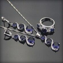 Azul clásico Creado Sapphire 925 Plata de La Joyería Para Las Mujeres Colgante Collar de la Boda Pendientes de La Astilla Anillos Caja Libre