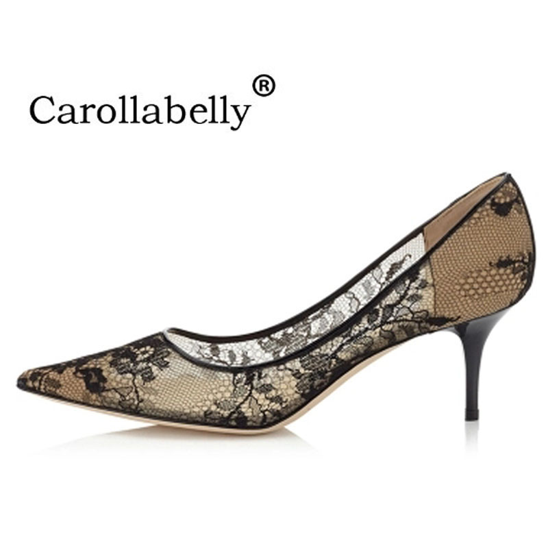 2018 New Elegant Shoes Woman Mesh lace High Heels Slip-on Women Pumps Pointed Toe Wedding Party Stilettos Shoes slip lace panel mesh sheer babydoll