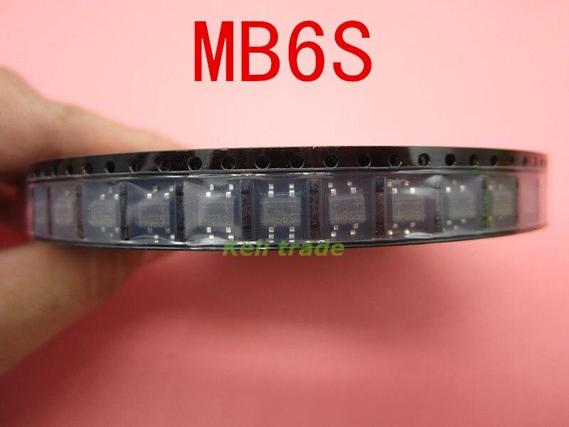 50pcs SMD MB6S 0.5A 600V Single Phases Diode Rectifier Bridge SOP-4 mb6s 600v 0 5a sop 4 mb8s mb10s