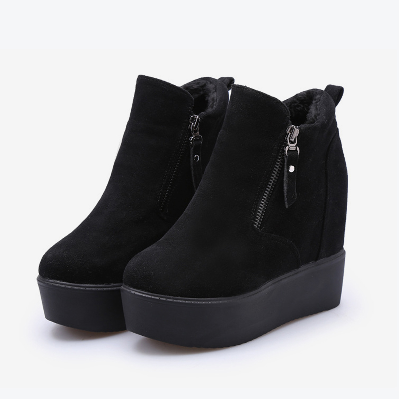 Black Plat Femme Hauteur black De With Femmes Plate Croissante Mcckle Bottes forme Daim Mode Cheville Talons Dames Compensées Fur Haute Zipper Chaussures CSqFnUxg5