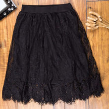 Korea New Sexy Lace A-Line Hollow Out High Waist Lace Knee Length Skirt Slim Thin Gauze Lined Skirt Black White Color(China)