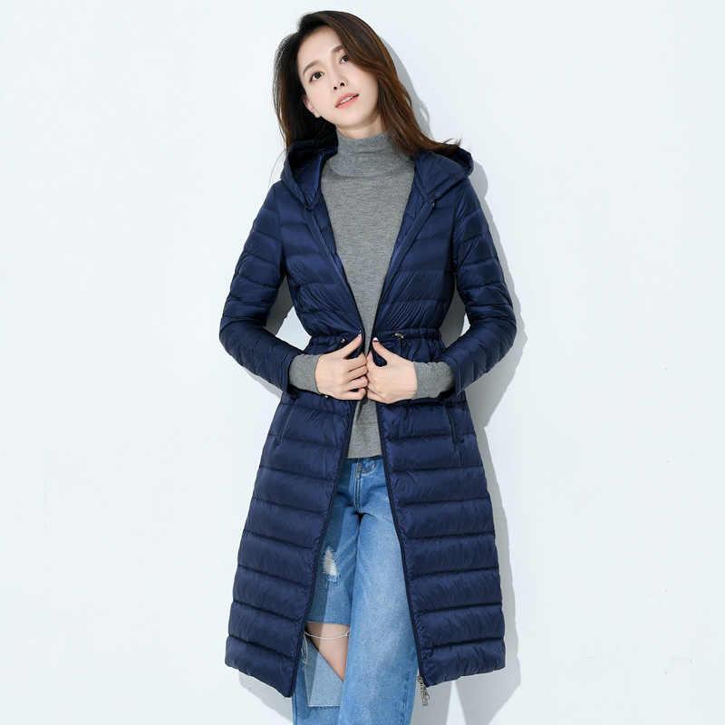 Осенне-зимнее тонкое длинное пальто на 90% утином пуху с капюшоном и поясом, женская повседневная куртка на белом утином пуху, ветрозащитная женская верхняя одежда Mw151