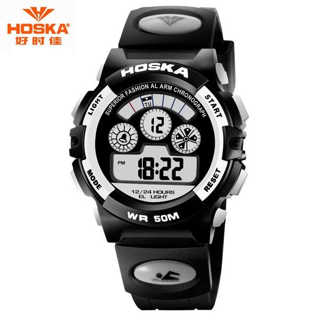 HOSKA Brand Watch for Kids Chronograph Calendar LED Display Stop Watch Rubber Plastic Waterproof Digital Watch Children H001
