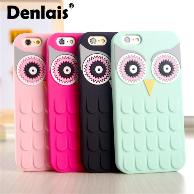Denlais Phone Case For iPhone 5 5S 6 6S Plus Cover Cute 3D Owl Silicon Cartoon Protective Cover For iPhone 8 7 7 Plus Case Capa