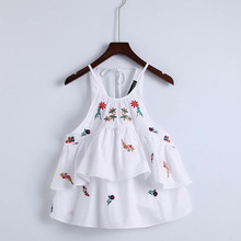 YSMILE Y Cute Lady Floral Embroidery Camis Shirts O Neck Backless With Bow Tie Sleeveless Summer Women Sexy Tank Tops