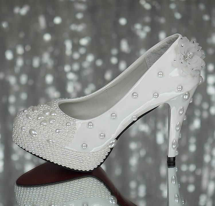 Wedding shoes platform white flower rhinestone single shoes customize princess bride breathable font b women b