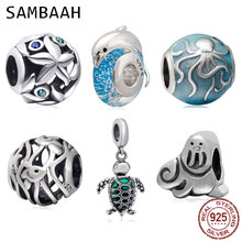 Sambaah 925 Sterling Silver Ocean Life Starfish Fish Sea Turtle Charm Beads fit Original Pandora Style Summer Ocean Bracelet turtle ocean fish wall tapestry