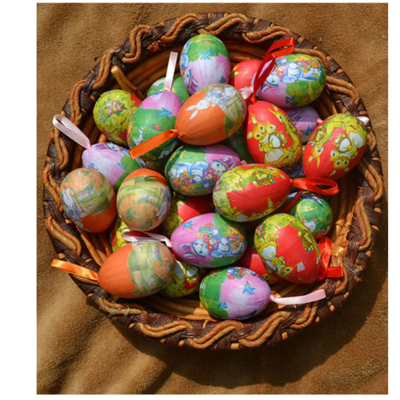 6pcs/LOT Easter Eggs Diy Cute Easter Decoration Idea Peter Rabbit Gift For Kids Hand-painted foam+paper Easter Egg JD622