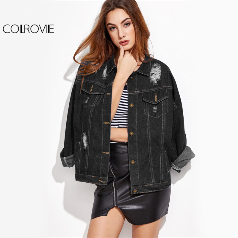 COLROVIE Ripped Casual Denim Jacket Drop Shoulder Stitch Detail Women Black Autumn Coat 2017 Single Breasted Plus Size Jacket ripped stitch detail denim jacket