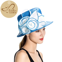 High Quality Women Hats With Large Flower Trim Kentucky Derby Hat Womens Knit Formal Church Visor S10 4270