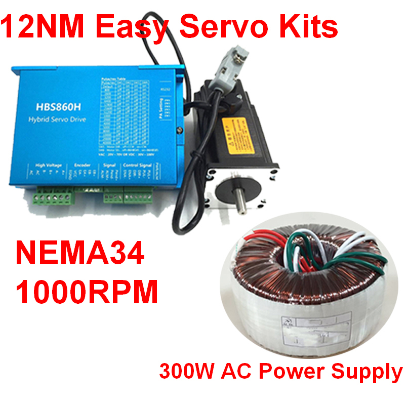 NEMA34 86mm 12Nm 1714Oz-in  Closed Loop Hybrid Stepper Motor Drive 300W Power Supply Kit Easy Servo for CNC With Cooling FanNEMA34 86mm 12Nm 1714Oz-in  Closed Loop Hybrid Stepper Motor Drive 300W Power Supply Kit Easy Servo for CNC With Cooling Fan