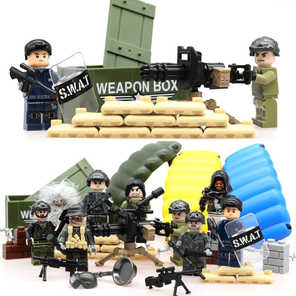 12 pcs Chinese Army Military World War 2 SWAT Soldiers Special Forces Fit Lego