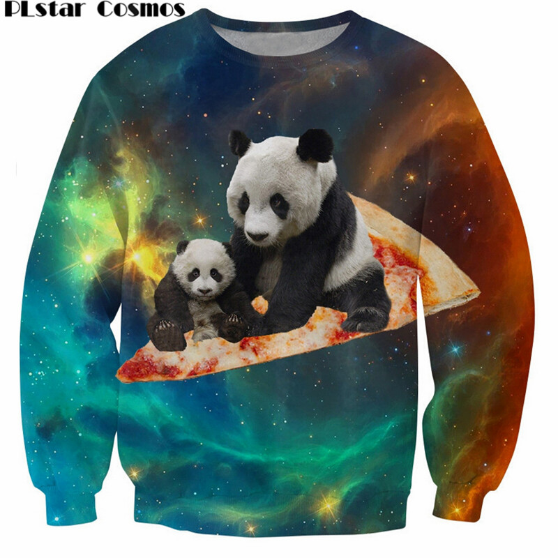 PLstar Cosmos Space Pizza Panda Crewneck Sweatshirt galaxy Star 3D Print casual Jumper Women/Men Sweats Fashion Clothing 5XL