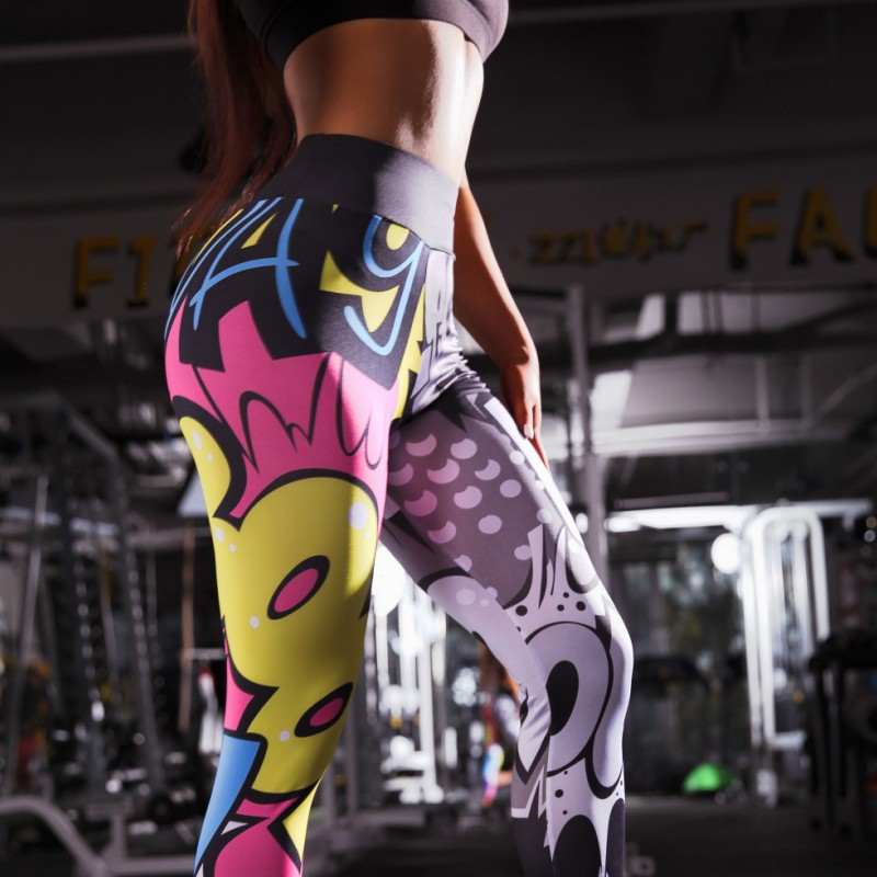 Women Legings Cartoon Printed Leggins high Stretch Girls Legging Punk Rock Leggin Fashion Pants Evening Clubwear 2019 Sweatpants