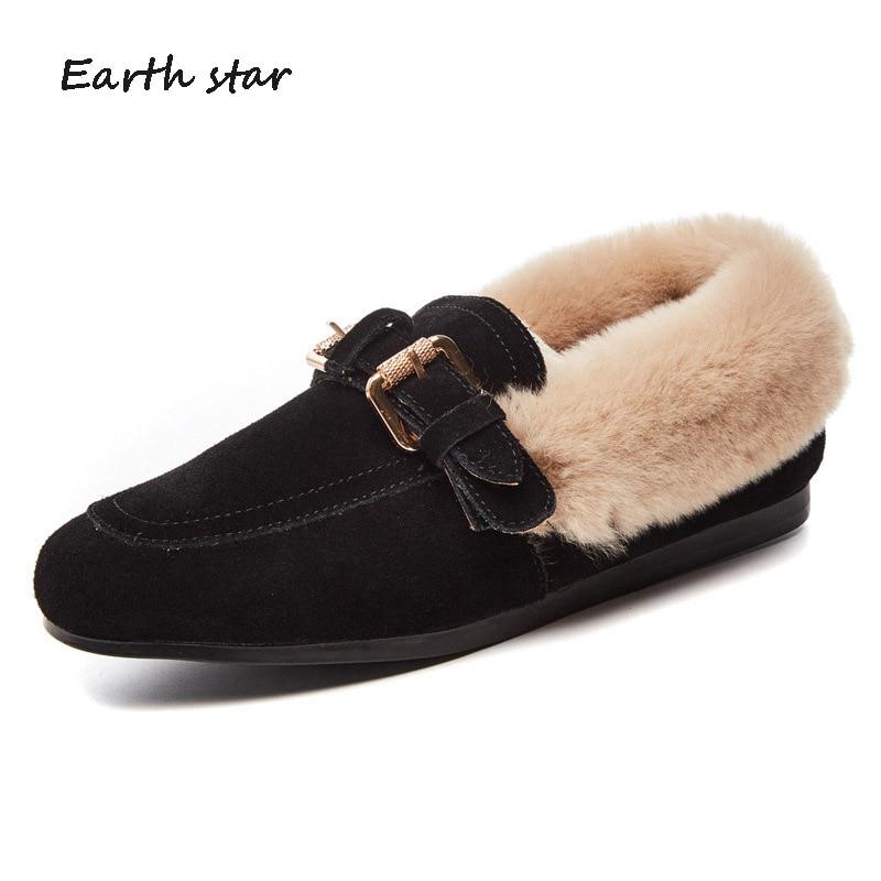 Dame D'hiver Femmes Color De Color Sand Fourrure Chaussures mushroom Avec lavande Casual Fringe noir Chaussure Marque Appartements Chaud Cuir Mode Mocassin Femelle En Véritable En7vqIHx