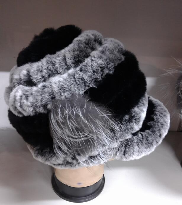 new arrival 2017 Winter Hat For Women Genuine Rex Rabbit Fur Hat With Fox Fur Flower Female Fur Cap Good Quality Fur Casquette