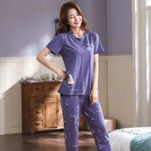 Image 3 - Nouveau été Pyjamas femmes coton bande dessinée Pyjamas ensemble hauts courts + longs pantalons vêtements de nuit lâche doux grande taille M 5XL vêtements de nuit pour dames