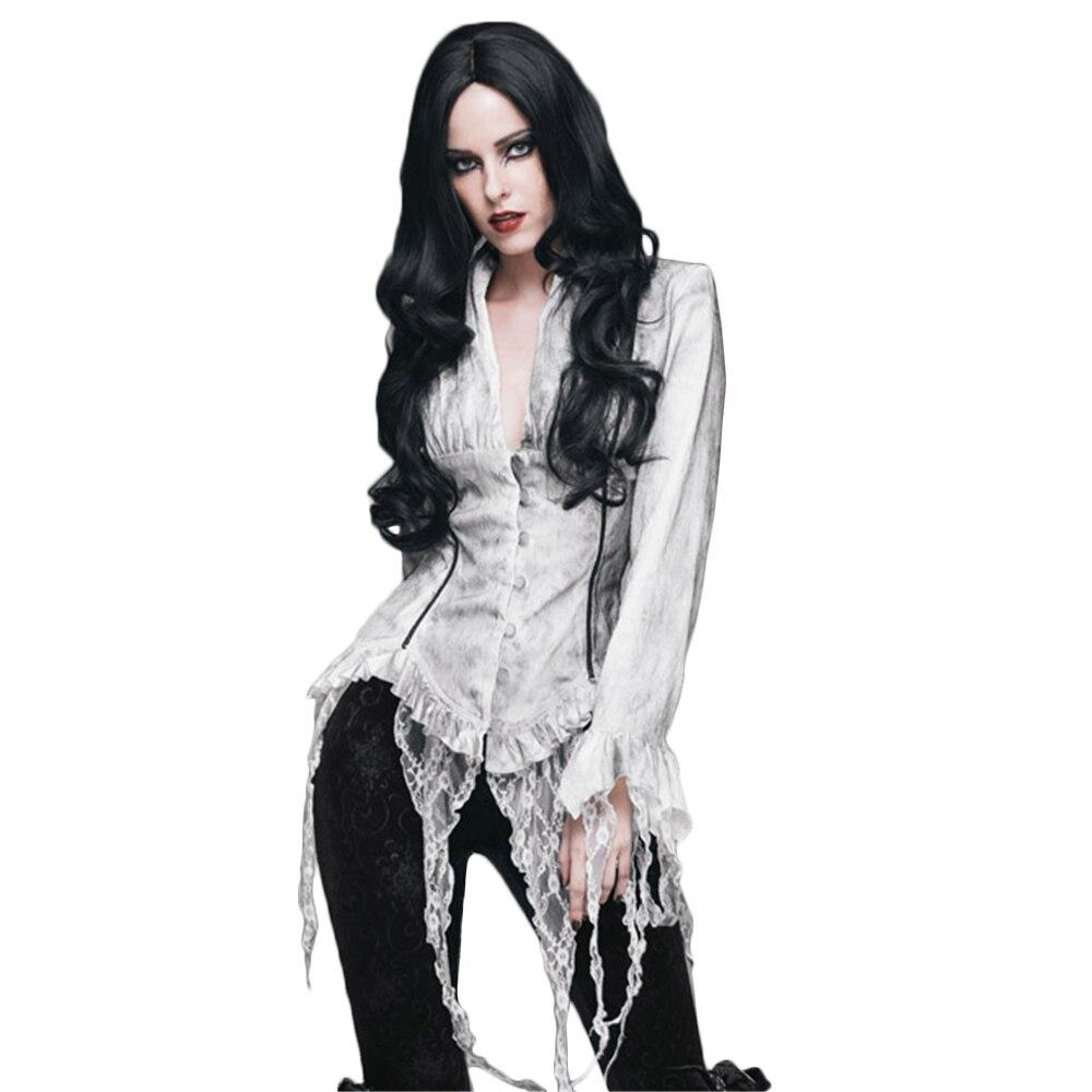 Steampunk Blouses femme rétro Palace manches longues dentelle gland chemises Top noir blanc Court Sexy Blouse - 2