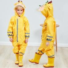 Cute Polyester Impermeabe Children Raincoat Cartoon Animal Kids Jumpsuit Waterproof Rain Coat Reflective Belt Outdoor Poncho