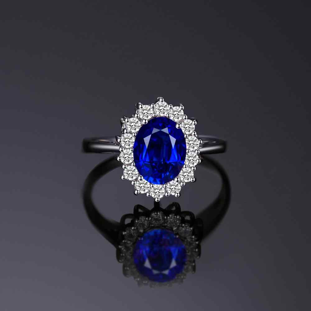 JewelryPalace สร้าง Blue Sapphire แหวน Princess Crown Halo แหวนหมั้น 925 เงินสเตอร์ลิงแหวนเงินผู้หญิง 2019