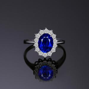 Image 2 - JewelryPalace Created Blue Sapphire Ring Princess Crown Halo Engagement Wedding Rings 925 Sterling Silver Rings For Women 2020