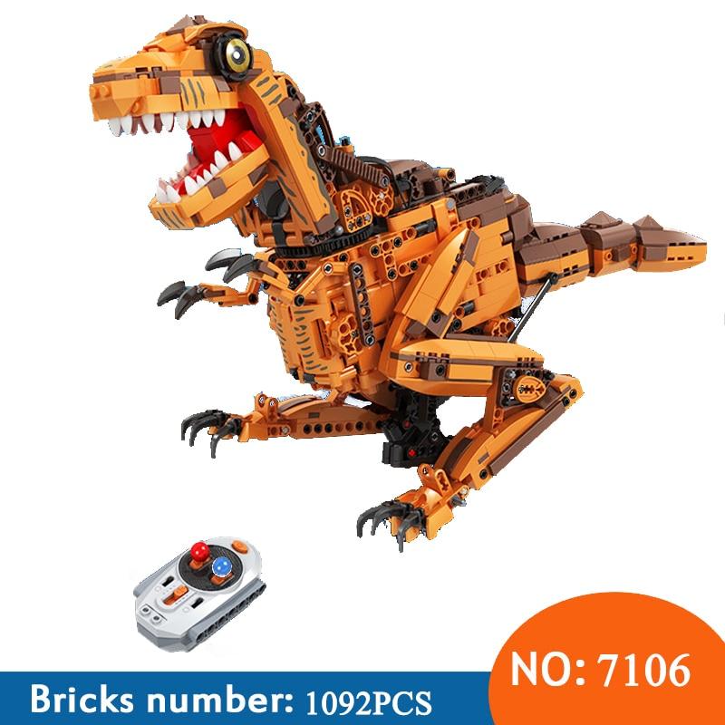 Zwycięzca 7106 1092 sztuk Technic twórców ekspertów RC zdalnego sterowania dinozaur Model klocki zabawki dla Childrn w Klocki od Zabawki i hobby na  Grupa 1