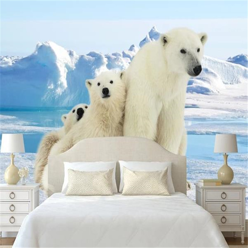 Custom Photo Wallpapers For Walls 3D Kids Room Cartoon Pattern Murals Polar Bear Glacier Wall Papers For Living Room Home Decor