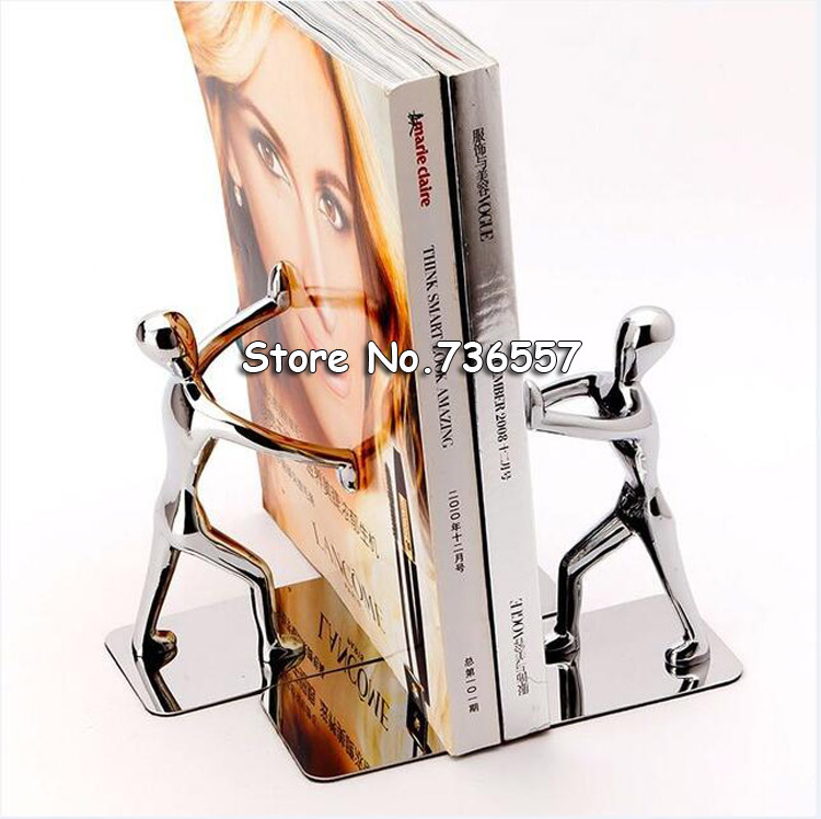 1 Pair Lot Fashion Cool Metal Stainless Steel Human Shaped Bookend for School Stationery Office Supply