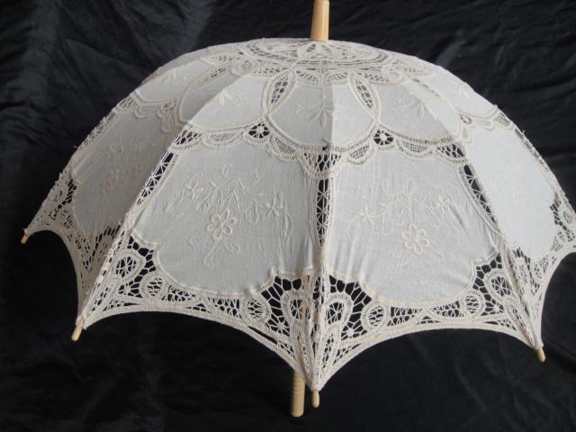 Ручной новый кружева зонтик хлопок вышивка белого кружева зонтик зонтик зонтик украшения бесплатная доставка QAZ559