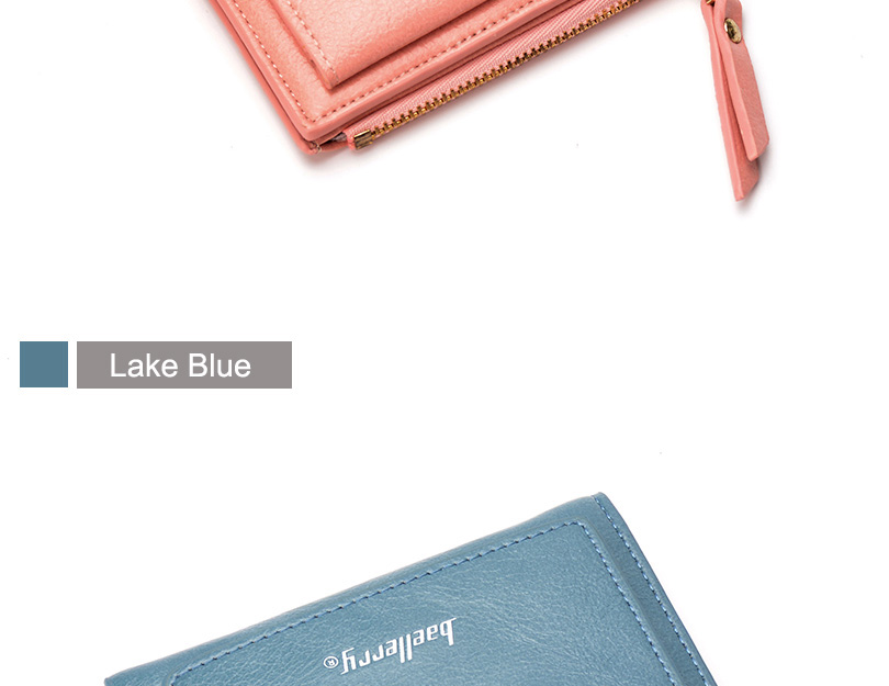 Women Wallet Small Purse Female Wallet Credit card slots zipper coin pocket Leather Wallet lovely pink one size 23