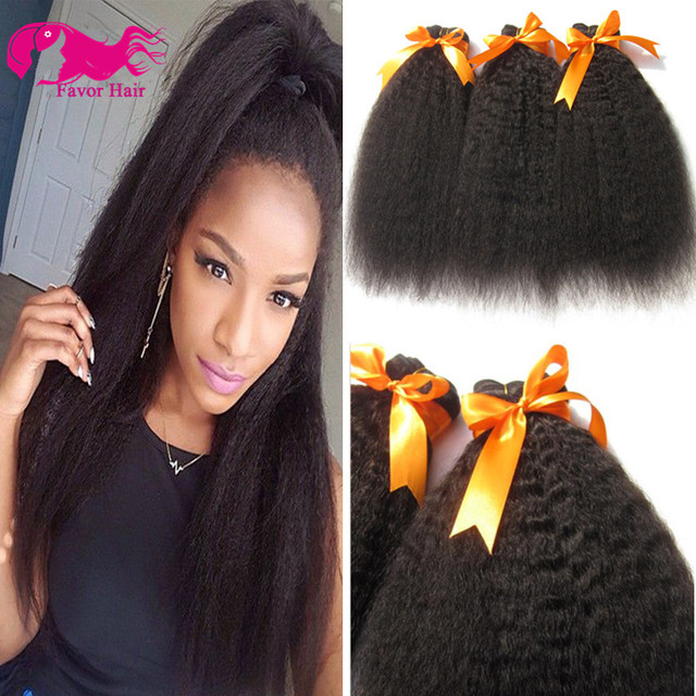 7a Brazilian Kinky Straight Human Hair Weave 3 Pcs Coarse Yaki