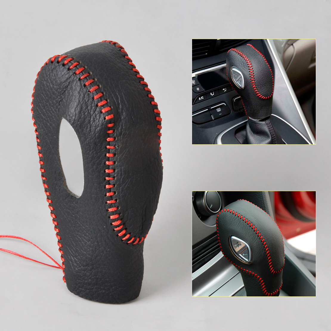 CITALL Genuine Black Leather Red Thread Gear Shift Knob Cover for Ford Focus 3 2012 2013 Kuga Escape 2013 2014 2015 Automatic AT