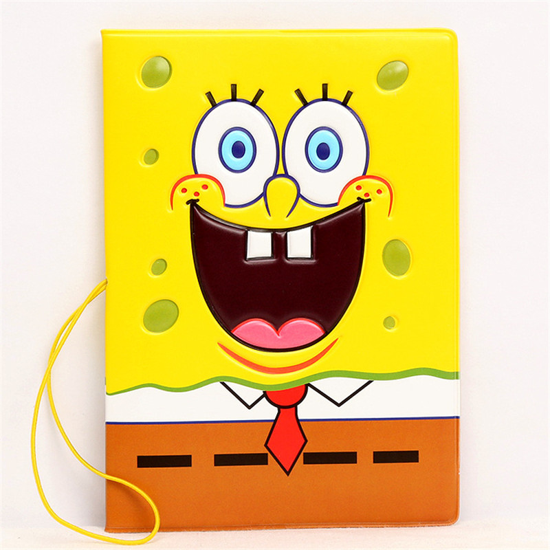 Fashion Cartoon Sponge Bob Passport Holder with Strap Passport Cover Passport Package PVC Travel Card Holder Bag 14*9.6cm