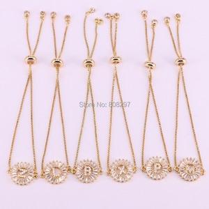Image 5 - 10Pcs Gold Colors Letter Bracelet Copper Micro Pave CZ Zirconia Round Charm Bracelets Fashion Jewelry