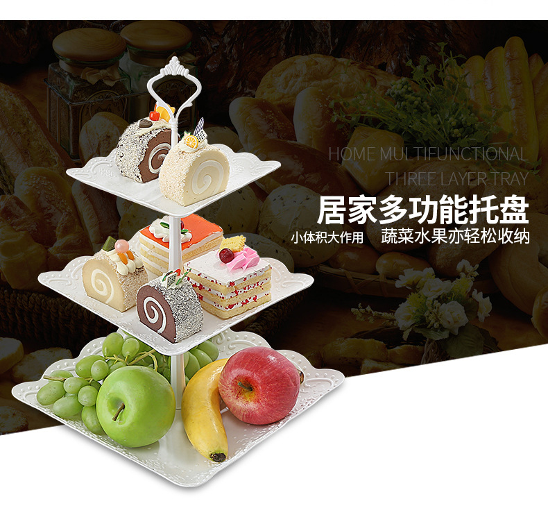 69689ef418 3 Pcs/set Creative European PP Fruit Bowl Afternoon Tea Dessert Plate  Three-tier of Fruit Basket Tray Cake Tray Decor for Gift