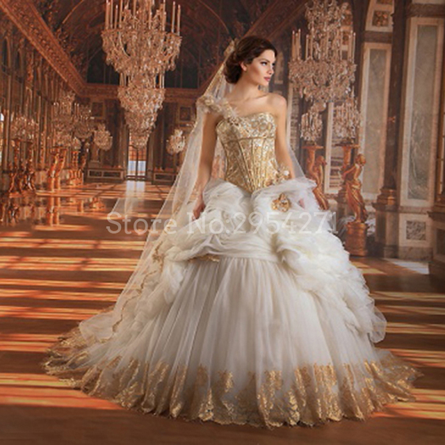 Vintage White And Gold Wedding Dresses Ball Gown One Shoulder Lace ...
