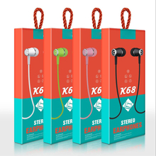 K68 In-Ear Earphone Headset wired Control with 3.5mm interfac Mic Earphones for Android for Apple цена 2017